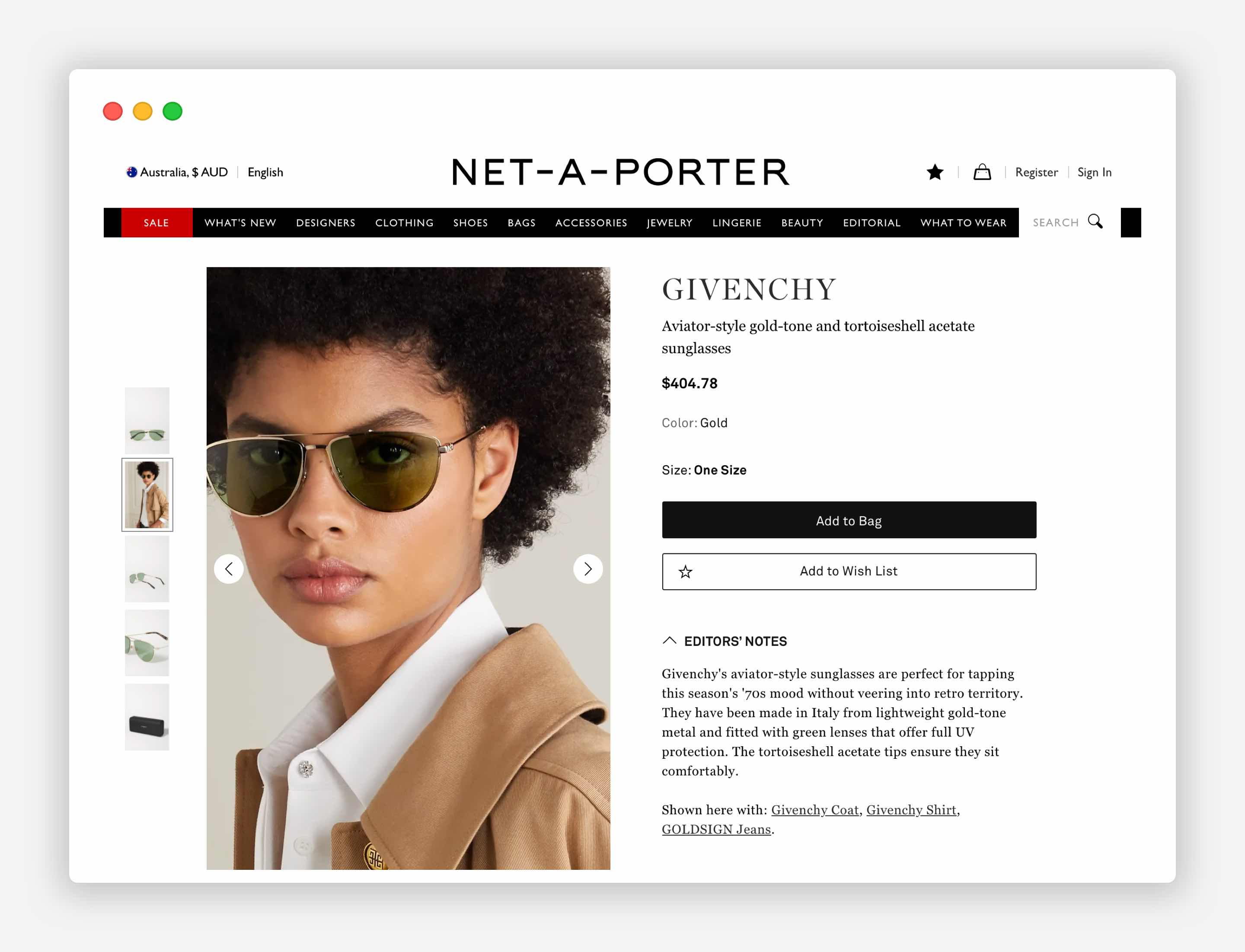 Product image and Product Description on the product page. The Net-a-porter example