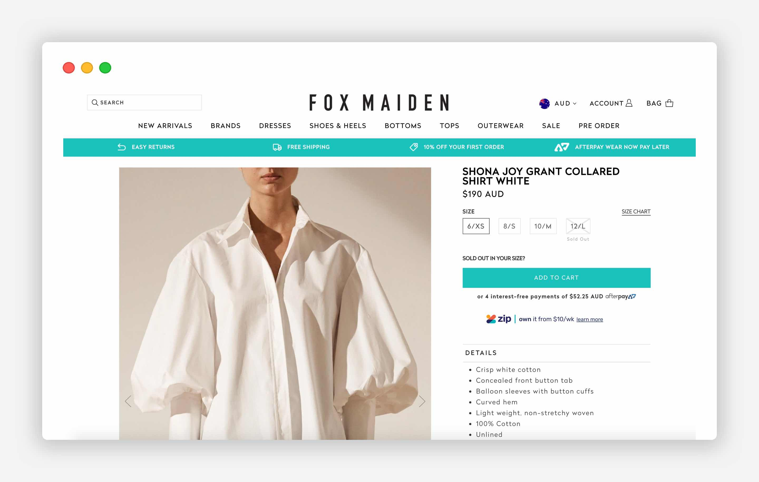 Returns and Refunds deatils on the product page. The Fox Maiden example