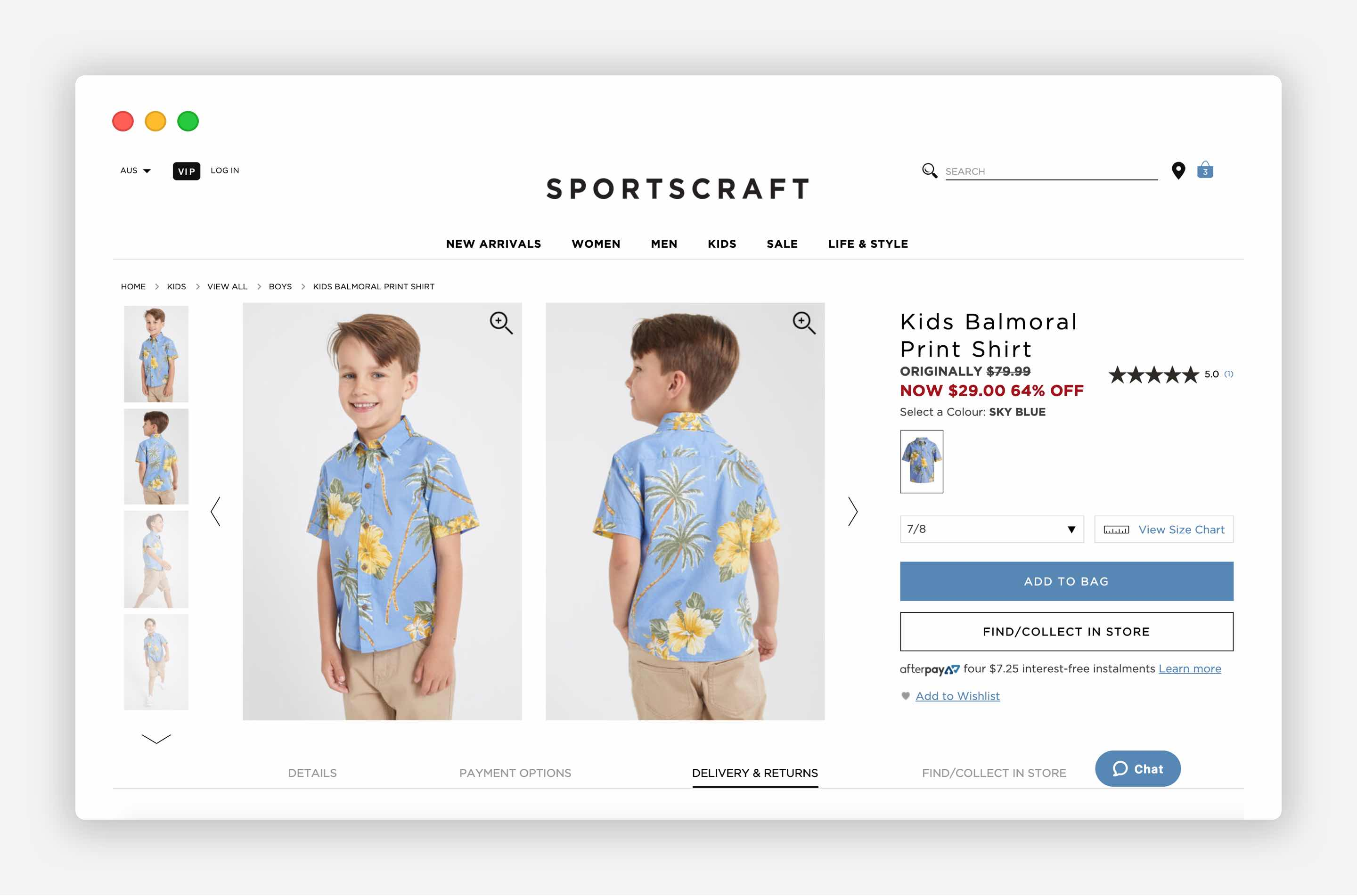 Product title on the product page. The Sportscraft example